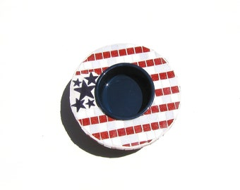 Patriotic Elevated Single Water Bowl, red white and blue, raised posh dog bowl, pet water bowl