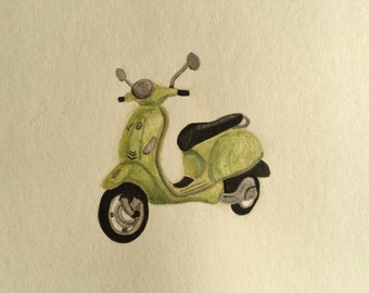 Hand Painted Watercolor Vespa Scooter Greeting Card