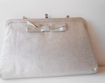 Silver Evening Bag, Vintage Silver Purse, Clutch Handbag, Formal, Wedding Purse, Silver Clutch Bag EB-0160