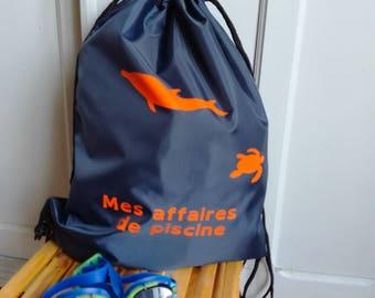 Sac de piscine bleu marine et orange, sac à dos de piscine imperméable,sac à dos de piscine garçon,sac à dos piscine dauphin et tortue.