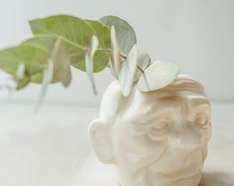Modern Ceramic Vase,Succulent Planter,Pottery Planter,White Ceramic Planter,Head Vase,Succulent Pot,Modern Planter,Cute Planter,Holiday Gift
