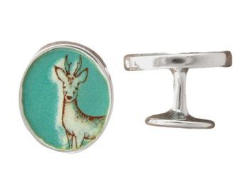 Wolf Cufflinks - Enamel and Sterling Silver Deer Cufflinks