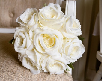 Bridesmaid silk rose wedding bouquet. Made with artificial ivory roses.