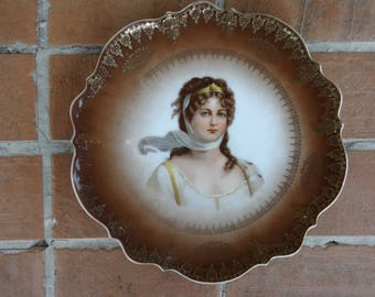 "antique portrait plate Germany Queen Louise CT Carl Tielsch 9"" decorative china"