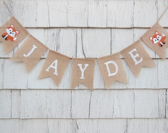 Fox Baby Shower, Fox Baby Shower Banner, Fox Nursery Decor, Custom Personalized Name Banner, Woodland Nursery Decor, Custom Burlap Banner