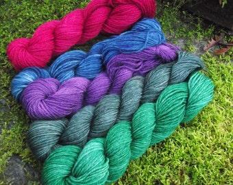 Gradient sock yarn kit fingering Superwash Merino wool,handpainted wool sock yarn kit--Jewel