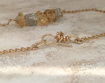 Necklace gemstone nuggets Pyrite Citrine 14k gold fill chunky primitive simple layering silver yellow handmade faceted birthstone November