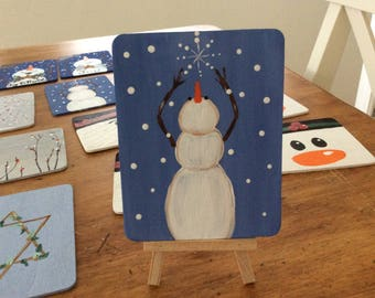 Mini 3.5 x 4.5 hand painted snowman on easel