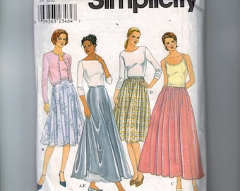 Misses Sewing Pattern Simplicity 8943 Misses Long Full Skirt with Petticoat Size 6 8 10 12 UNCUT