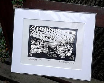 Milecastle 37 - limited edition lino print