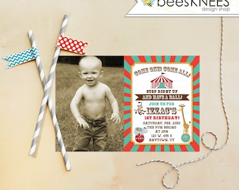 Circus Birthday Invitation 1st Birthday Invitation Can Be changed to any age