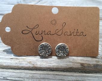 Silver Druzy Earrings, Faux Druzy Earrings, Bridal Druzy, Stud Earrings
