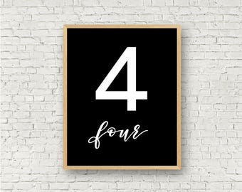 Number Four // Simple 4 Printable // Individual Numbers Wall Art Print // 8x10 // Digital Print File // Numerology Gift // Black and White