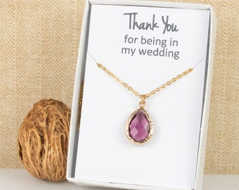 Amethyst Gold Teardrop Necklace, Plum Bridesmaid Necklace, Purple Gold Necklace, Bridesmaid Jewelry, Bridesmaid Gift, Wedding Jewelry