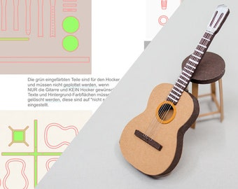 Guitar and chair SVG, STUDIO3 and PDF for Silhouette Cameo or Brother ScanNCUT or other Cutting Machine, digital Download