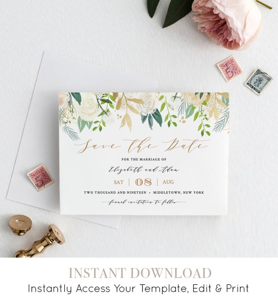 Save the Date Printable, Wedding Date Template, INSTANT DOWNLOAD, Neutral Florals & Greenery, Boho, 100% Editable, Templett #021-110SD
