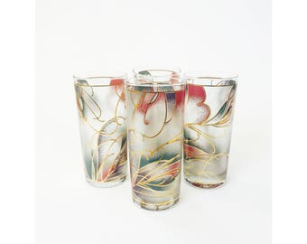 Vintage Abstract Pastel Tumblers / Set of 4 / Culver