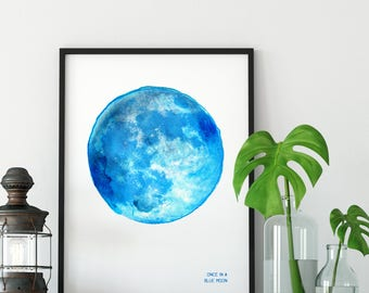 Once in a Blue Moon / Limited Edition / Supermoon / Art Print / Illustration /Giclée Print / Poster / Moon Art