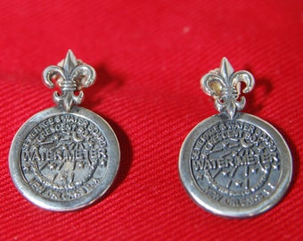 Sterling Silver New Orleans Watermeter with Fleur de Lis top post pierced earrings