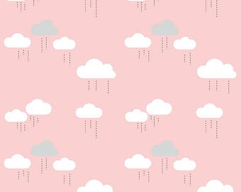 When Skies Are Grey Pink Cloud by Simple Simon and Company for Riley Blake, 1/2 yard