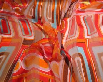 Orange with Blue and Yellow Op Art Print Pure Silk Burnout Chiffon Fabric--One Yard