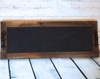 Wooden chalkboard tray, rustic wooden tray, decorative tray