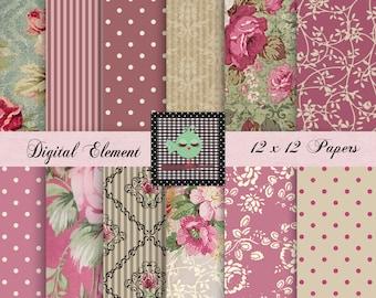 Digital Paper, Scrapbook Digital Pink Floral Paper, Shabby Chic Pink Rose Paper, Green Paper, Digital Shabby Scrapbook Papers. No. P164