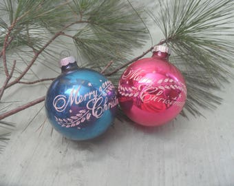 Two Shiny Brite USA stenciled MERRY CHRISTMAS ornaments  / vintage 2.5 inch bauble ball