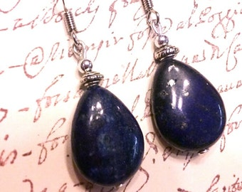 Genuine Lapis lazuli earrings, blue earrings, stone earrings, cobalt blue earrings, Bridesmaid earrings