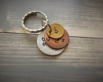 Mixed Metal Key ring, Hand-stamped keyring, Stacked Discs Key Ring, Personalised Keyring, Custom Keyring, Personalised Gift, Custom Gift