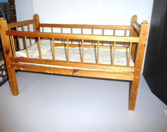 Vintage DOLL CRIB Old Wooden Doll Crib with Doll Blanket Wood Crib Baby Doll