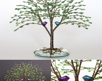Love Birds Tree Wedding Cake Topper Green Bead and Wire Sculpture silver gold green spring summer- MADE to Order