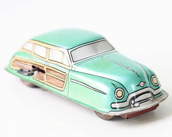 """Vintage Green Car, Marx Toy """"Woodie"""", Station Wagon, Wind Up Friction Car"""