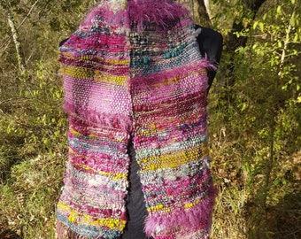 Woven Saori scarf hand spun wool