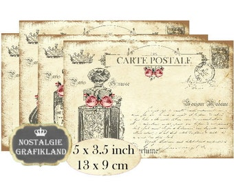 Postcards French Perfume Bottles Flacon Instant Download digital collage sheet P193 Carte Postale