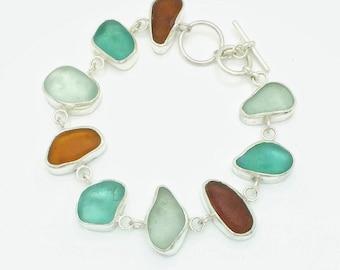 Stunning bezeled seaglass bracelet - Sterling Silver - Beachglasss