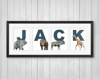African Animals Print, Baby Nursery Decor, Personalized Kids Name Print