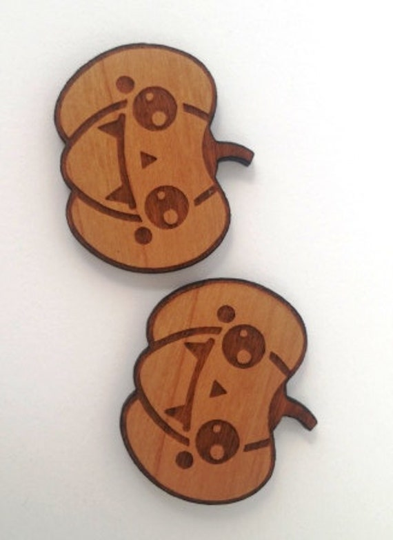 Laser Cut Supplies- 1 Piece.Kawaii Pumpkin Vampire Charms - Cherry Wood-Laser Cut- Little Laser Lab Sustainable Wood Products