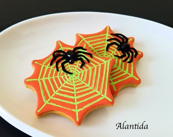 Set of 3 Fake Cupcake Halloween with Black Spider  Cupcake Display Decor Halloween Decor Faux Cupcakes Trick  or Treat Spider Web Cookie