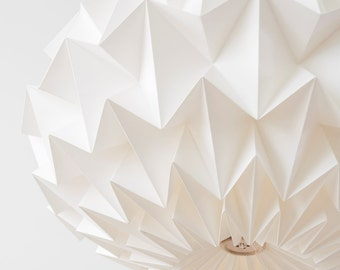 Signature white paper origami lampshade - size XL - hanging