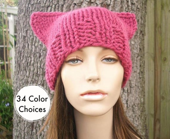 Pink Pussyhat Womens Hat - Pink Cat Beanie - Raspberry Pink Knit Hat - Pink Cat Hat Pink Hat Pink Beanie Pussy Hat - 34 Color Choices