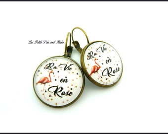 La Vie en Rose cabochon earrings Leverback jewelry retro vintage
