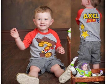 Custom COWBOY Birthday Shirt RED RAGLAN with Name on Back Woody birthday shirt Toy Story Birthday Shirt