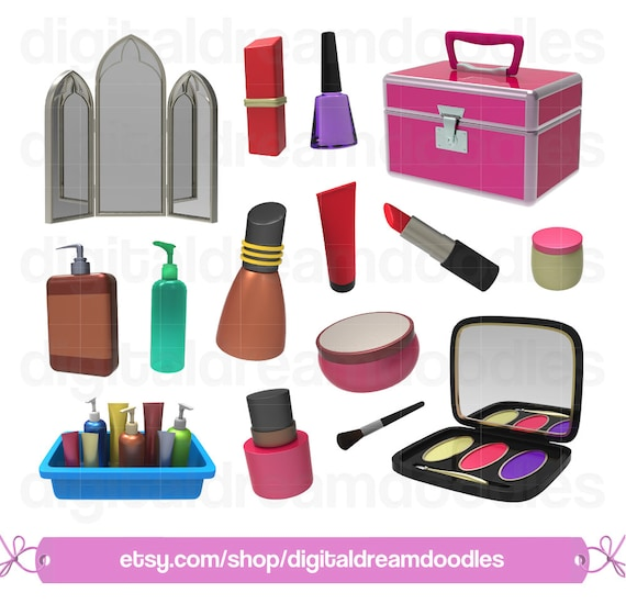 makeup clipart make up clip art cosmetics png beauty set rh etsy com makeup clipart black and white makeup clipart png
