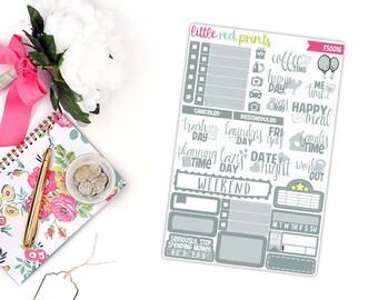 Gray Functional Sampler, Planner Stickers for the Erin Condren Life Planner, Sampler Sheet - [FS0016]