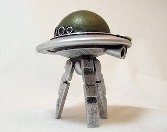 Flying Saucer Walking Martian UFO with Legs Alien Vehicle Wood Sculpture