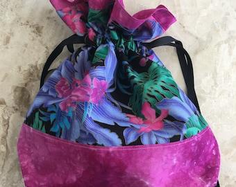 "12.5"" x 12.5"" Pink & Purple tropical medium drawstring bag"