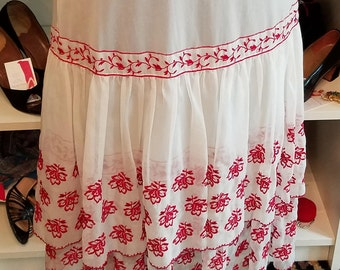 Vintage, 1950s, 50s, Kickernick, White, Red, Embroidered, Nylon, Double Tiered, Ruffled, Slip, Skirt