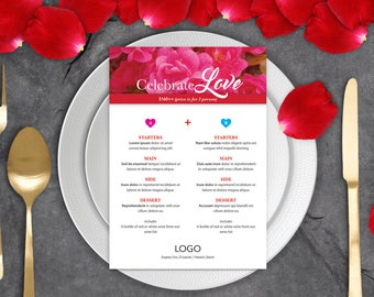 Table Menu Template Design - Valentine's Day Menu, Restaurant Menu, Cafe Menu, Editable Menu Template, Printable Menu