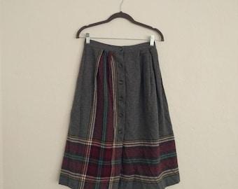 Contemporary Corner Skirt (Size 11). Wool Skirt. Striped Skirt. Plaid Skirt.  Front Button Skirt. Vintage Skirt.